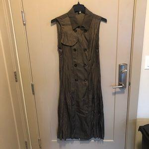 Long, Olive Green Trench-coat Vest, Size L